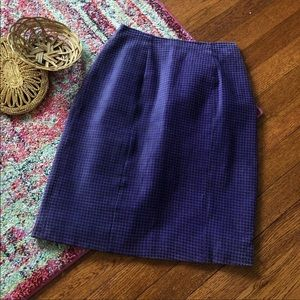 Vintage Purple houndstooth suede pencil skirt